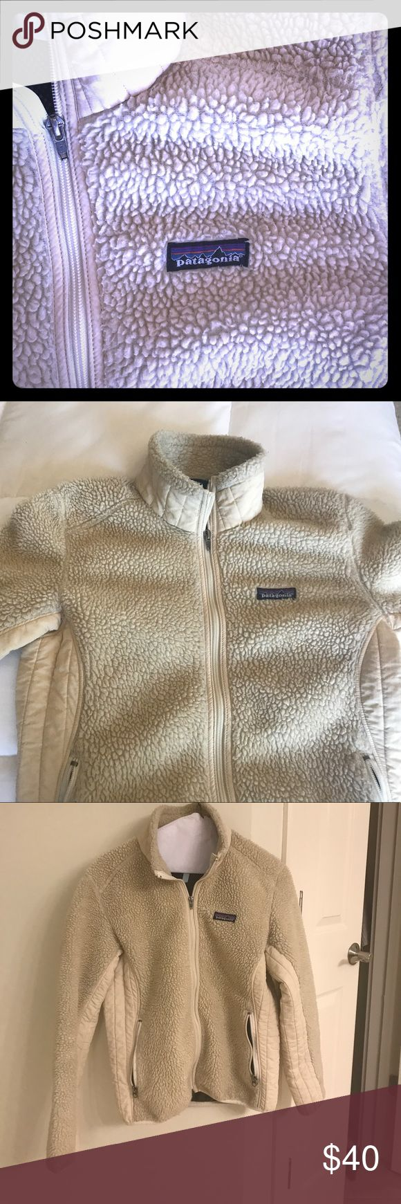 Patagonia fleece jacket Lightweight retro fleece zip up Patagonia jacket- cream colored, size tag missing but fits like a small. Small hole in interior of one pocket (not visible, about the size of a quarter). GUC- perfect weight for Spring, Fall Patagonia Jackets & Coats