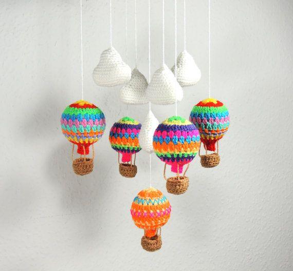 Baby Mobile Hot Air Balloon Baby Shower Gift Crochet Nursery Mobile