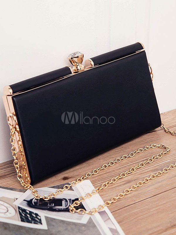 Black Small #Bags Women's #Metal Detail #KissLock Single Strap Handbags