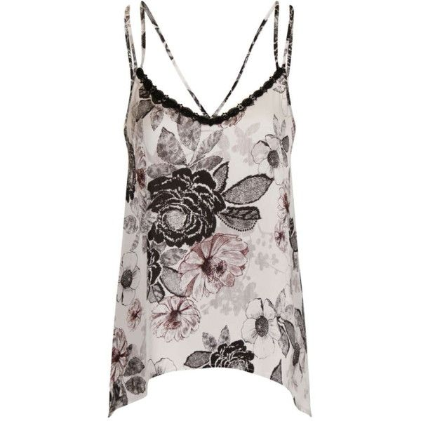 **Girls on Film Floral Cami Top ($30) ❤ liked on Polyvore featuring tops, tank tops, black, flower print top, camisole tops, floral camisole, cami tank tops and floral cami top