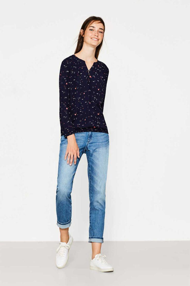 Fließende Bluse mit Allover-Print