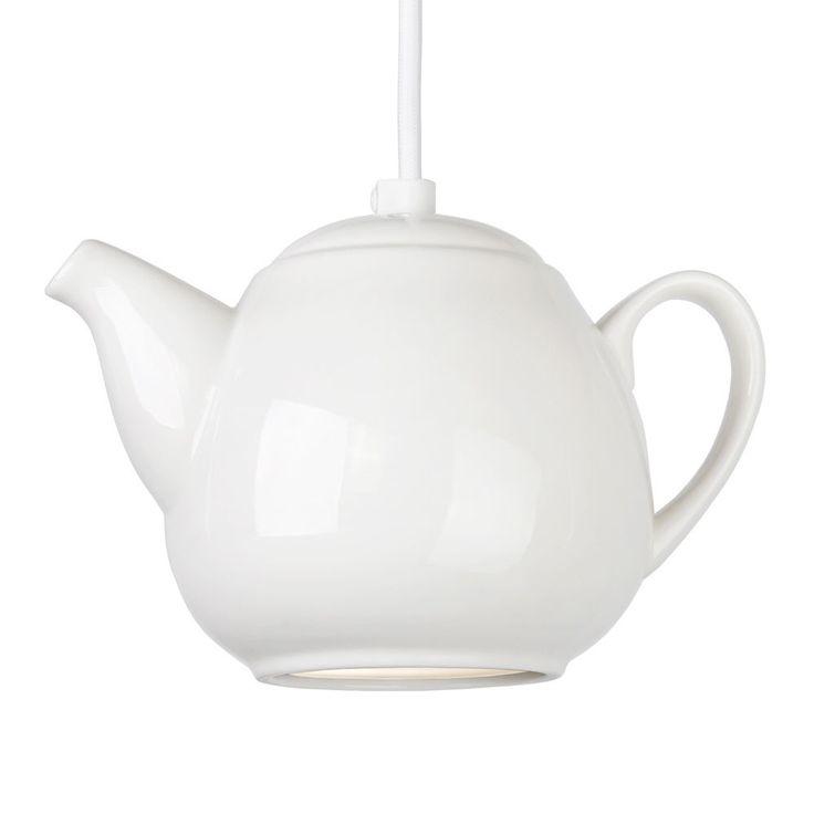 Modern Quirky White Ceramic Teapot Ceiling Pendant Light Fitting Lights Lighting | eBay