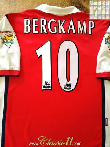 c55e01010b3 Official Nike Arsenal home football shirt from the 1998 99 season. Complete  with Bergkamp  10 on the back of the shirt in official Lextra flock  lettering