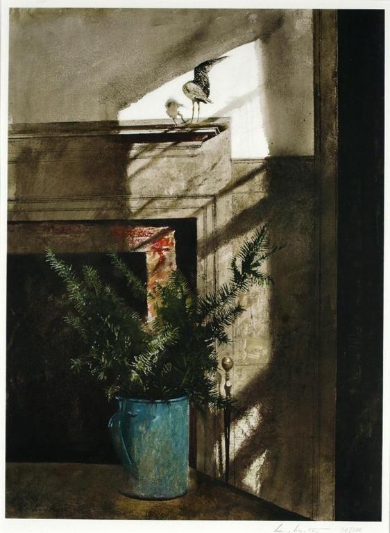 Interiores janelas portas - Andrew Wyeth - Bird in the House (1984)