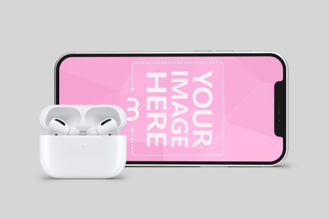 Mockup Template Featuring A Landscape Iphone 12 With Apple Airpods Use This Template To Preview Your Music Or Video Iphone Mockup Psd Iphone Psd Iphone Mockup