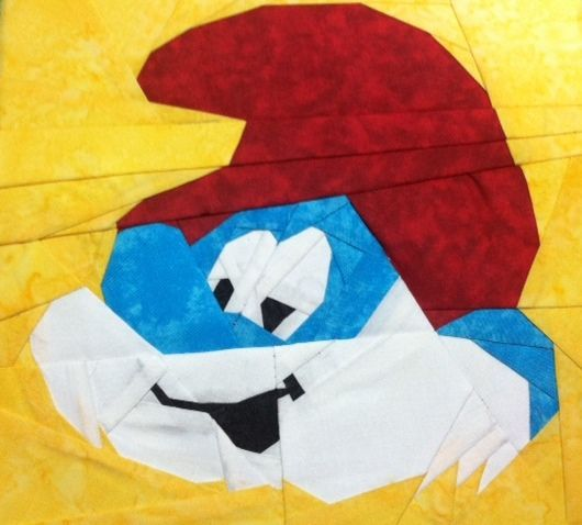 Papa Smurf, a free paper pieced pattern from @Michelle Thompson. Only on Fandom In Stitches!