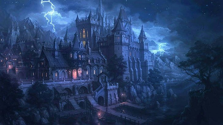 fantasy castle sky night lightning tail darkness storm HD wallpaper in 2020 Gothic wallpaper Fantasy castle Wallpaper pictures