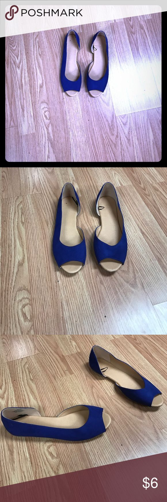 Blue peep toe flats Blue peep toe flats ! Worn one time ! H&M Shoes