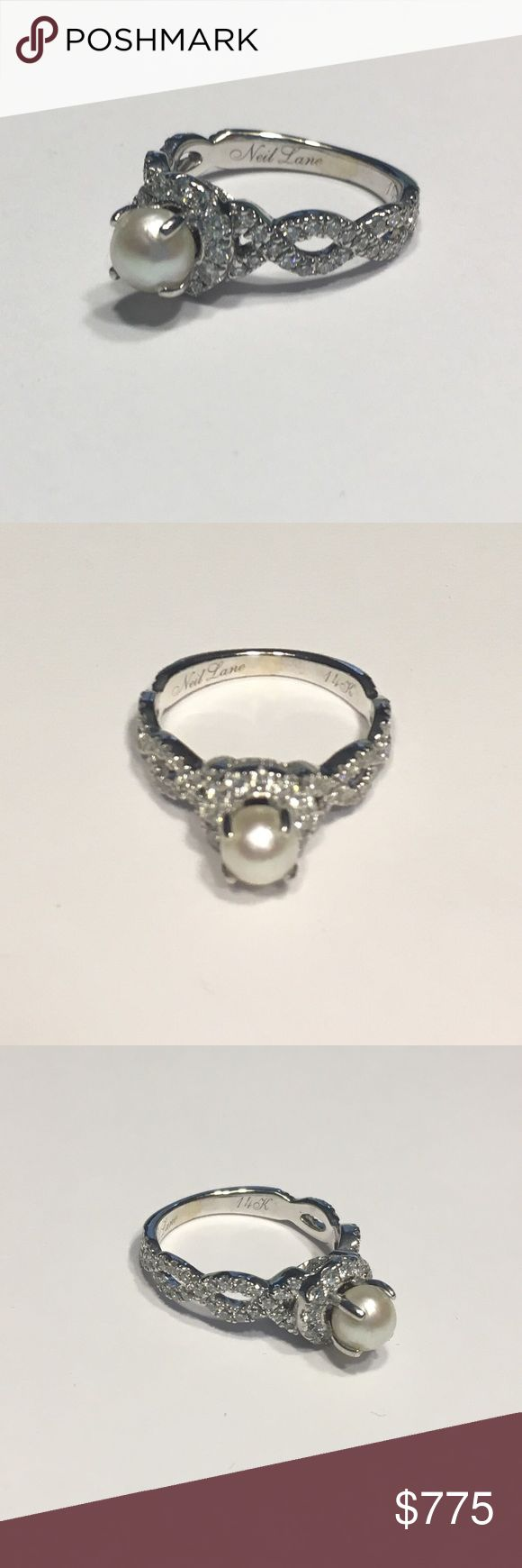 Neil Lane Diamond Pearl Engagement Ring Hello, This Is A Stunning Neil Lane  Diamond And