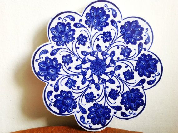 Turkish / Ottoman Ceramic Tile hot plate, pot trivet, adorable dark blue
