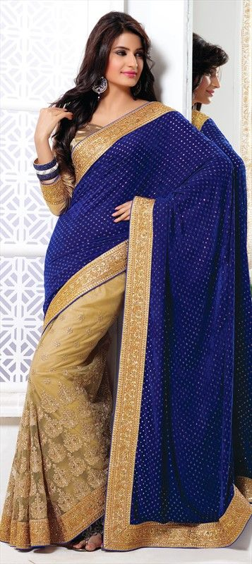 147170, Party Wear Sarees, Embroidered Sarees, Net, Velvet, Border, Sequence, Stone, Patch, Kasab, Blue, Beige and Brown Color Family