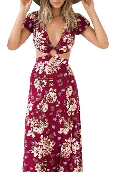 Hot Floral Print Deep V Scoop Back High Slit Dress - OASAP.com