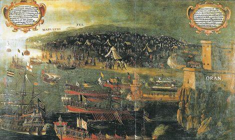 Desembarque de moriscos tras el decreto de expulsión de la península española en 1609.