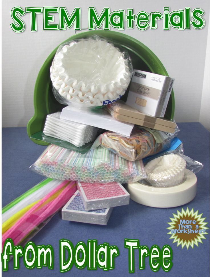 STEM Materials from Dollar Treeideas for building STEM kits on the cheap from More Than a Worksheet