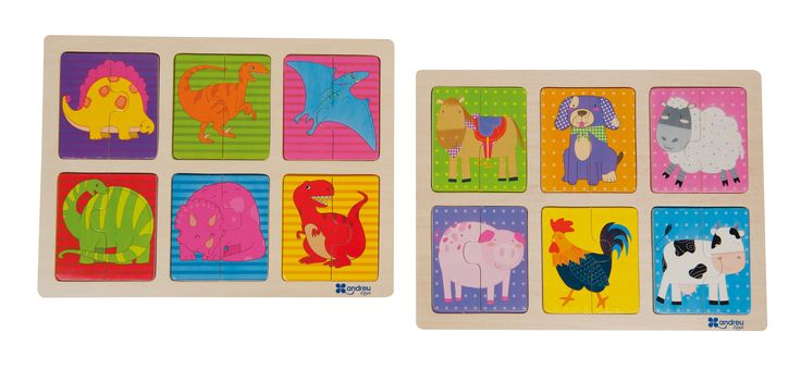 Pack de 2 divertidos puzles, con 6 puzles cada uno de 2 piezas. El puzle animales tiene dibujos de caballo, perro, oveja, cerdo, gallo y vaca. El puzle dinos tiene dibujos de Estegosaurio, Velociraptor, Ptenarodon, Apatosaurio, Triceratops y T. Rex. ¡Los peques se lo pasarán genial asociando dibujo y descripción! El pack incluye 2 puzles: animales y dinos. Estos puzles fomentan la coordinación ojo-mano, lenguaje y son aptos para escuelas.