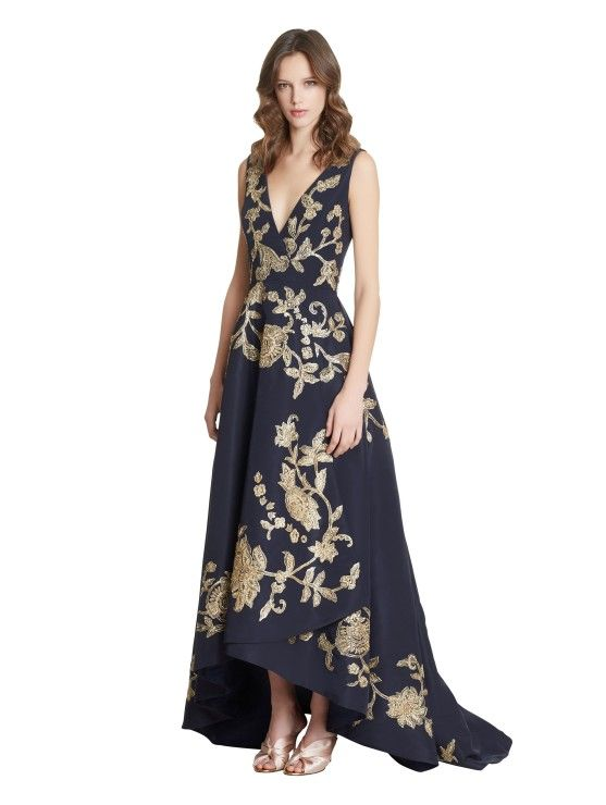 Metallic Embroidered Silk-Faille Gown