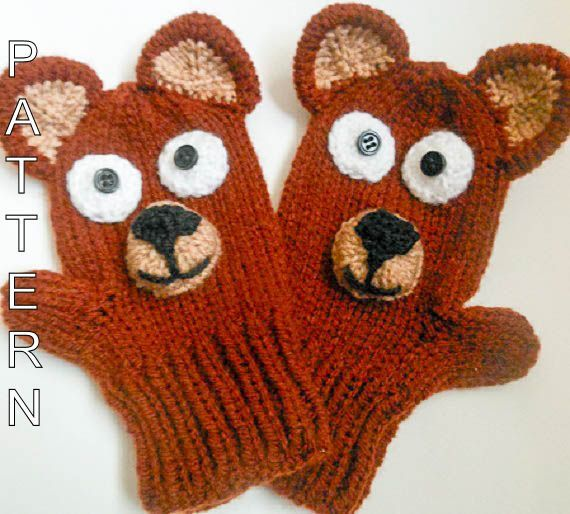 Knitting Pattern -Teddy Bear Mittens, Animal Mittens, Character Mittens, Gloves