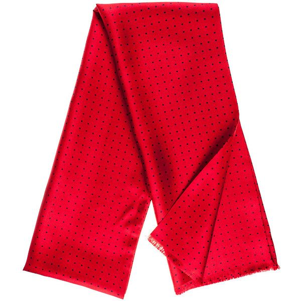 Black Barga Red & Navy Polka Dot Silk Scarf (925 NOK) ❤ liked on Polyvore featuring men's fashion, men's accessories, men's scarves, mens red scarves, mens silk scarves and mens scarves