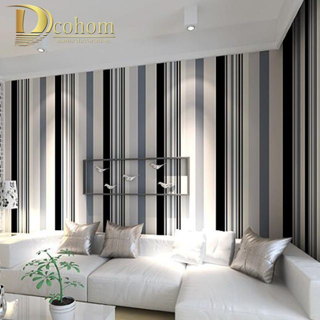 Modern Black And White Grey Vertical Stripes Wallpaper Tv Room Living Room Paper Wall Dec Striped Wallpaper Living Room Living Room Decor Gray White Wall Decor