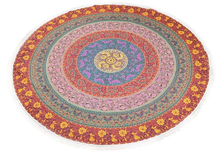 Yoga Mats & Equipment – Round Blanket Round Beach Sheet 72 x 72 Inch – a unique product by IndianCraftPalace on DaWanda