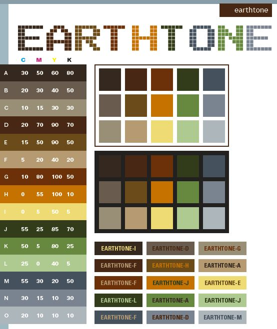 Earthtone colors come from natural things around us: brown soil, green leaf, cloudy sky, as well as the red sun. These palettes can create a warm, nature-friendly atmosphere.  Meanings:  Warm, safe, protective, sturdy, durable, rough   Implications: Earthy, environmental, welcoming, bold  Associations:  Soil, forest, wood, countryside