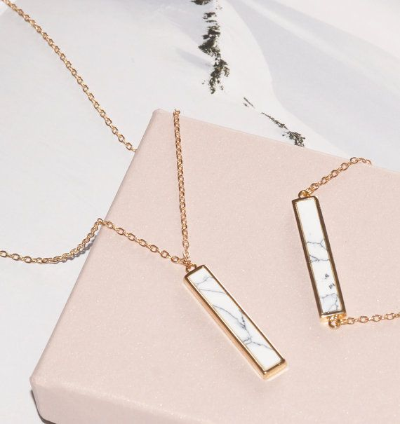 Marble Necklace Bar Pendant Necklace Horizontal or Vertical 24k Gold Plated Bezel Modern Minimal Dainty Necklace Christmas Gift   Minimal, chic and
