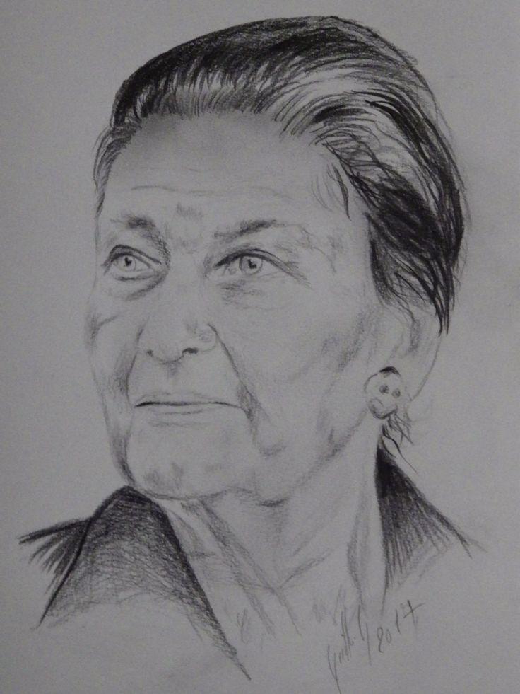 Simone Veil. Dessin au crayon