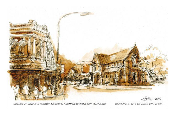 Corner of Leake & Market Streets, Fremantle Western Australia. Graphite & coffee on paper.