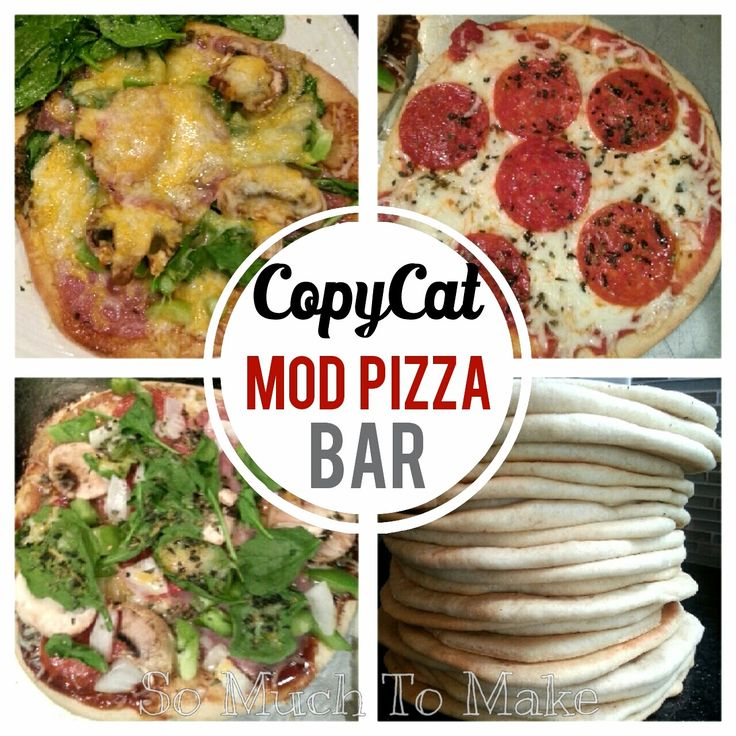 CopyCat MOD Pizza Bar from So Much To Make. Includes recipe for pizza crusts