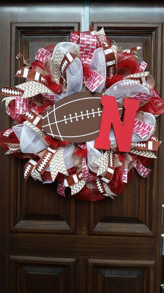 Burlap Mesh Nebraska Husker Wreath by Jarabels on Etsy