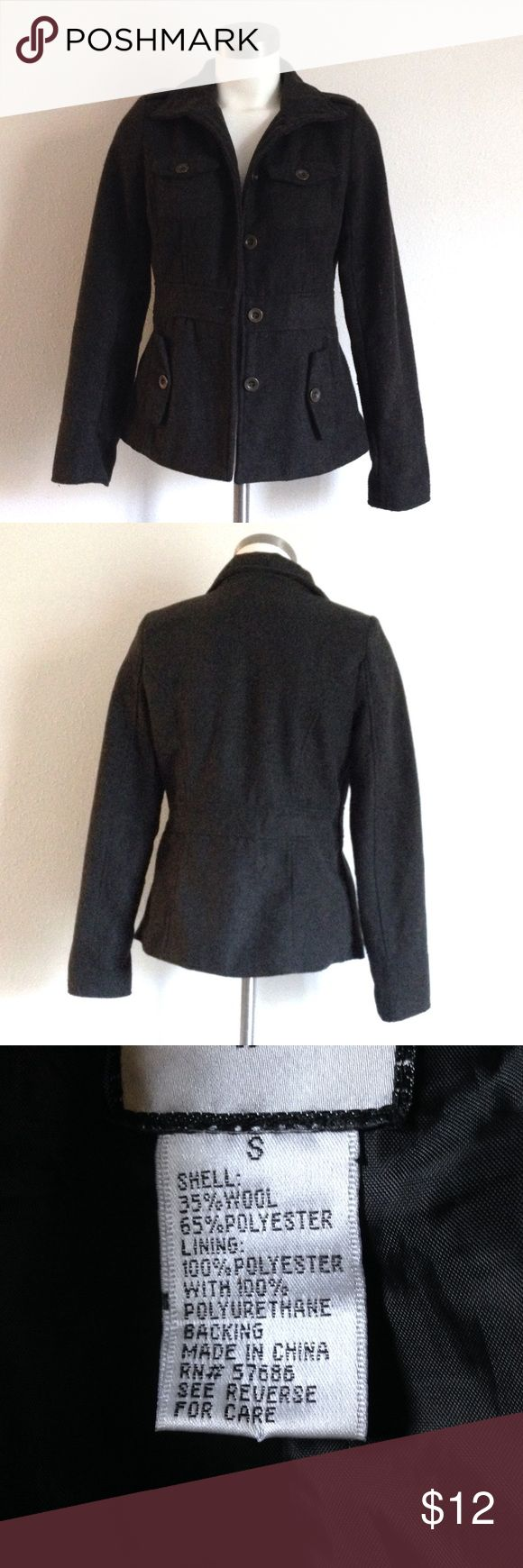 Charcoal Gray Peacoat Fitted wool blend peacoat with kind of a military style. Looks great over a white v neck, skinny jeans, and black ankle boots! Offers welcome! Love this coat but it's a little fitted for me. Would work better for a true small. BP for views. bp Jackets & Coats Pea Coats