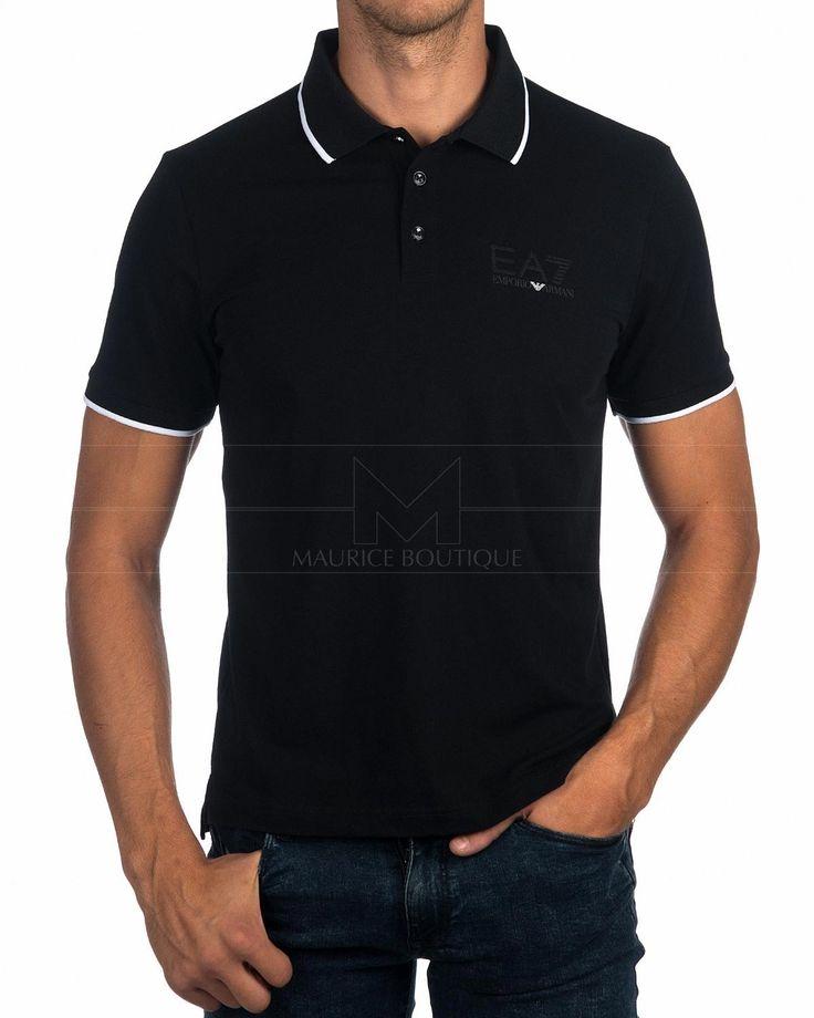 ARMANI EA7 © Polo Shirts For Men ✶ Black & White Tips | BEST PRICE