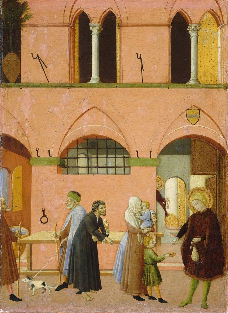 Maestro dell'Osservanza (Sano di Pietro?) - Pala di Sant'Antonio abate: Sant' Antonio distribuisce la sua ricchezza ai poveri - tempera su tavola - 1440 circa - Washington, National Gallery of Art