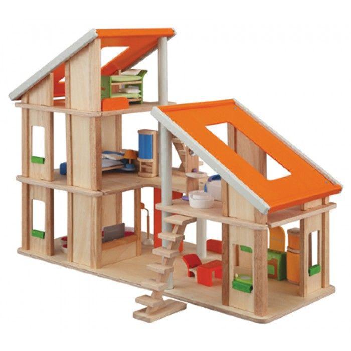 Drewniany domek dla lalek - zabawki kreatywne dla dziewczynek (1)