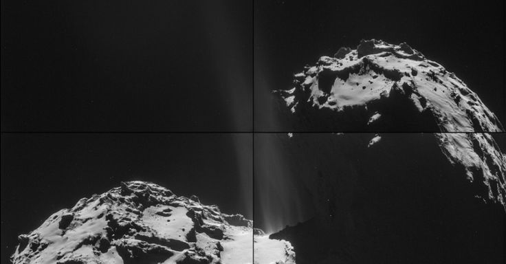 As quatro imagens que compõem esta montagem de cometa 67P/Churyumov-Gerasimenko foram tiradas em 26 de setembro de 2014 pela sonda Rosetta, da ESA (Agência Espacial Europeia, sigla em inglês).  A Rosetta estava a cerca de 26 km do comenta, a contar do seu centro. Na montagem, a região de jato de atividade pode ser vista no pescoço do cometa. Estes jatos, provenientes de vários locais escondidos, são resultado de gelo em sublimação e de gases que escapam de dentro do núcleo