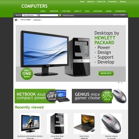 Computers CS-Cart Template is specially designed for electronics, computers, mobile stores. Garmonical colors combination of grass and black with white background of central content and grey footer.