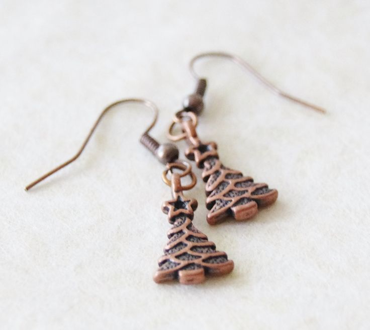 Copper Christmas Tree Earrings * Christmas Dangle Earrings * Festive Earrings * Christmas Gift for Her * Ugly Christmas Sweater Jewelry by SmittenKittenKendall on Etsy