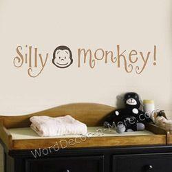 SILLY MONKEY Kids Wall Decal-Silly Monkey,vinyl wall art,kids vinyl wall words,kids wall quote, removable wall words,kids wall stickers,removable wall stickers,kids playroom decor, monkey wall decals,nursery wall words,kids wall decal,removable wall decal,bedroom wall words
