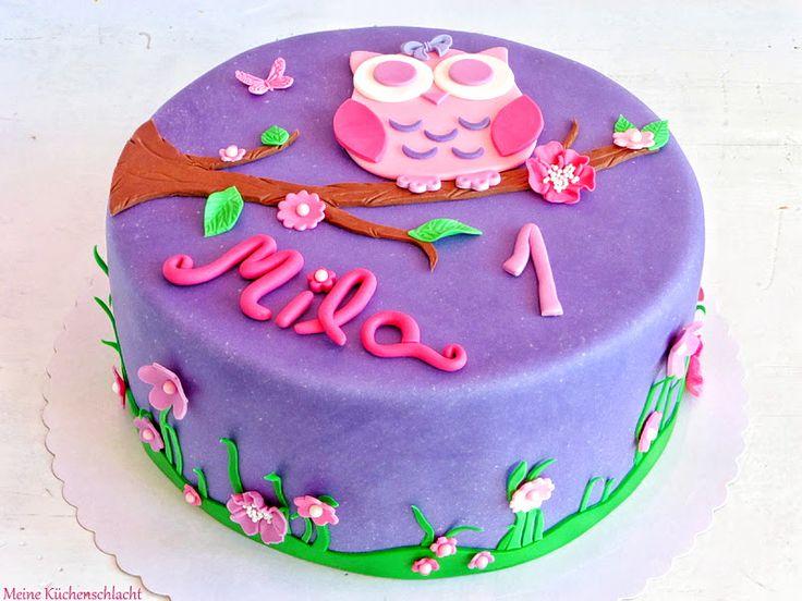 Eulen Torte mit Wiese & Blumen