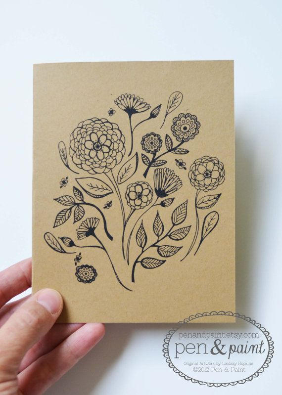 Flowers, Flora, Notecards, Set of Four Floral Folded Note Cards, Stationery, Hand Drawn, Illustration, Greeting Cards