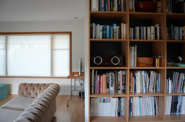 Bookcase in current dining area. Lounge to left.