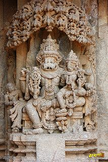 Relief sculpture of the Hindu god Narsimha on the outer walls of Keshava Temple…