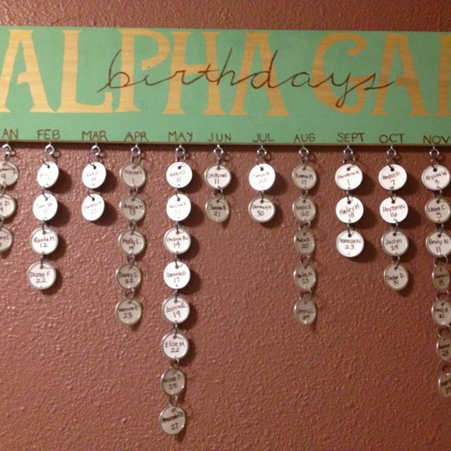 Sorority Sister Birthdays! DIY   This would be so cute for our new house!  This would also be cute for teachers to use in class, Sunday school classes, and PTO could have fun with this too! Love it, HW.
