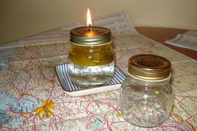 How to make an oil lamp. This oil lamp is a little different since it's filled half with water and half with olive oil (you can use other oils too). Great project for emergency lighting!