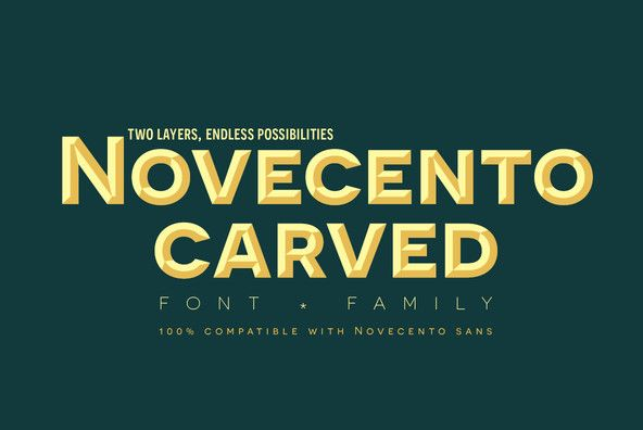 Novecento Carved is a layered font family.It is designed to be paired with the 2013 version of Novecento Sa...