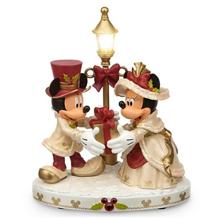 Disney Christmas Figurine - Mickey & Minnie Mouse Light-Up Victorian
