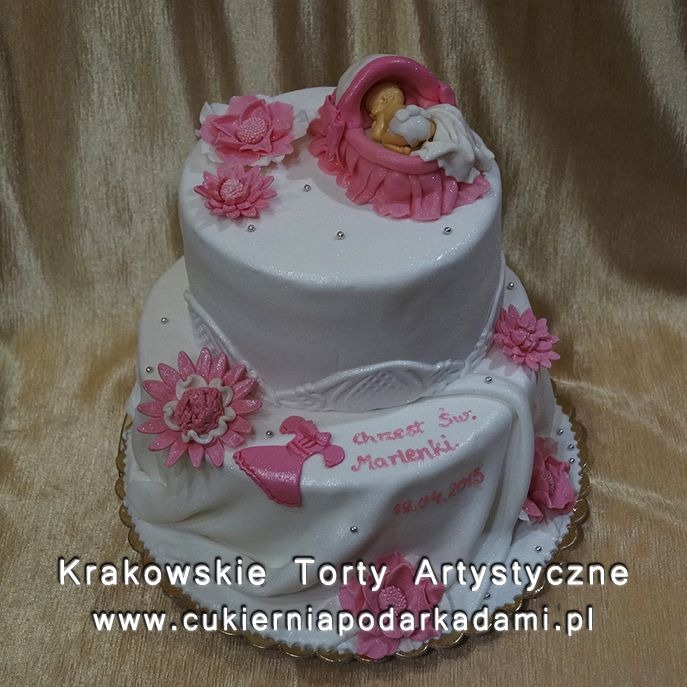 043. Tort z kwiatami na chrzest. Cake with pink flowers for baptism.