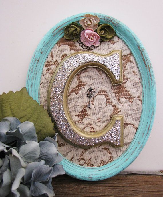 Shabby Chic Bedroom For Girls Letter C Wooden Initial #upcycled Vintage Nursery