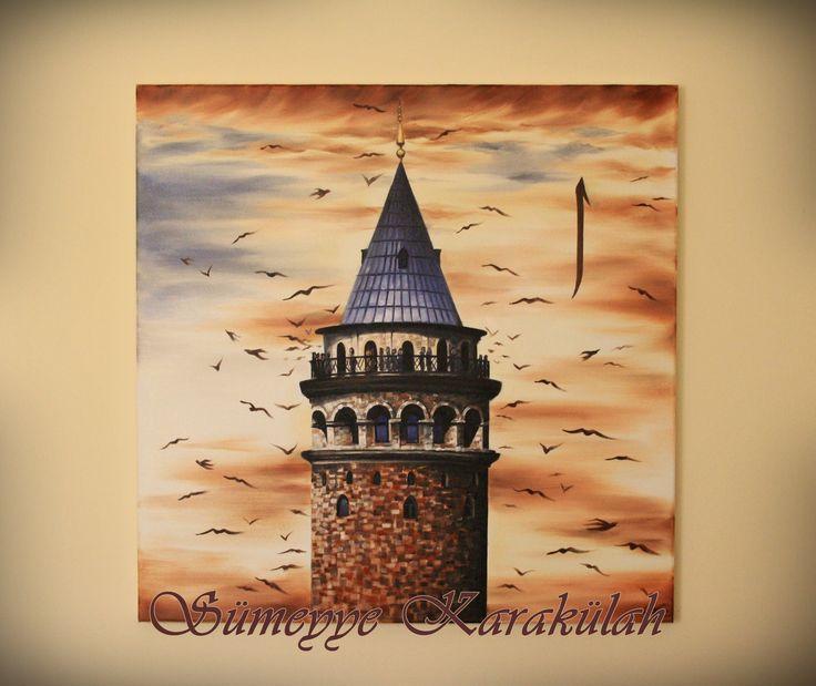 Yağlıboya Galata Kulesi oilpaiting Galata Tower