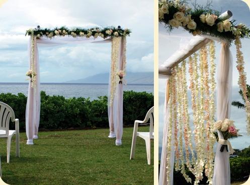 #white ceremony chuppa #hawaii wedding ceremony decor #White Sands Chuppa